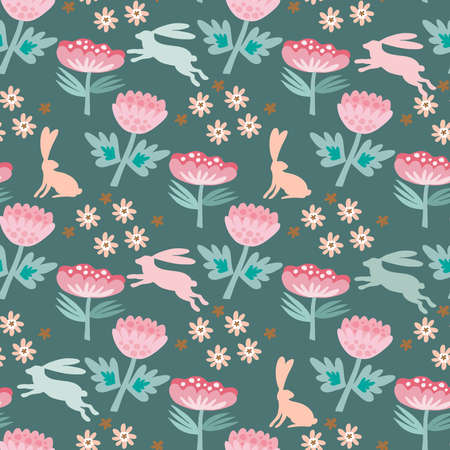 Easter Beautiful festive seamless pattern with funny rabbit, spring meadow flowers. Cute spring floral background, paper, textile, covers, banner Vector