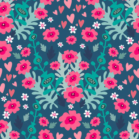 Beautiful flower seamless pattern with delicate art bouquets. Meadow millefleurs. Floral background for textile, fabric, wallpaper, pattern fills, covers, surface, print, wrap, scrapbooking