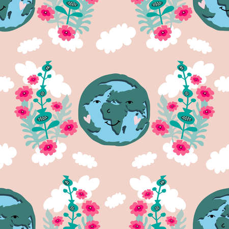 Earth Day seamless pattern. Save the planet eco concept. Template poster, web banner, postcard. Green leaves, forest, trees. Vector cute flat cartoon illustration.