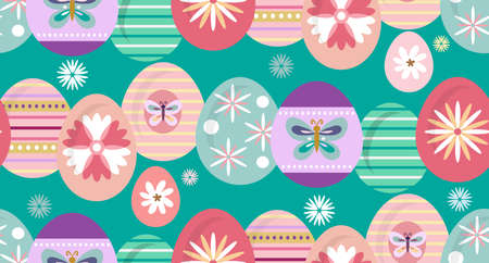 Happy Easter. Beautiful festive seamless pattern with easter eggs, spring meadow flowers. Cute spring floral background, paper, textile, covers, banner. Vector illustration. Ilustrace