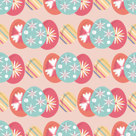 Happy Easter. Beautiful festive seamless pattern with easter eggs, spring meadow flowers. Cute spring floral background, paper, textile, covers, banner. Vector illustration. Stock Illustratie
