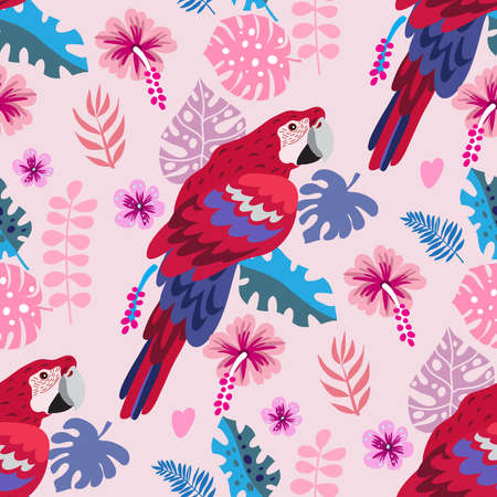 Seamless pattern with tropical parrots. Colorful exotic bacground Birds, leaves, flowers, plants and branches art print for travel and holiday, fashion, posters. Vector illustration