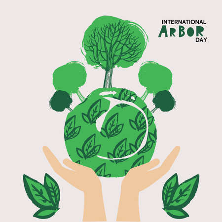 Happy Arbor Day. Save planet. Ecology concept design. Green Eco Earth. Vector illustration for ECO concept greeting card, poster, banner, eco design.