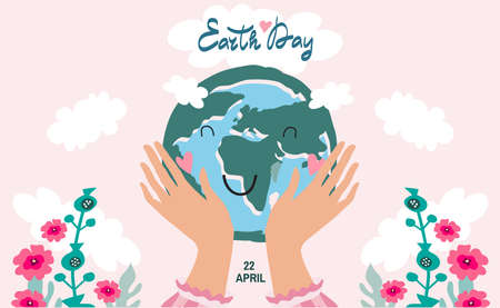 International Earth Day. Save the planet eco concept. Template poster, web banner, postcard. Green leaves, forest, trees. Vector cute flat cartoon illustration.