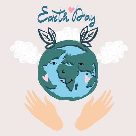 International Earth Day. Save the planet eco concept. Template poster, web banner, postcard. Green leaves, forest, trees. Vector cute flat cartoon illustration. Ilustración de vector