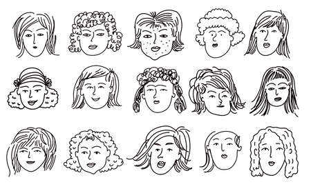 Hand drawn human faces doodle in cartoon style. Funny characters. Women, girl, mother, old lady. Funny ink pencil drawing sketches Illustration different age generation. Vector art illustration.