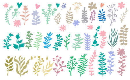 Big set of flowers and herbs. Vector collection leaf. Hand Drawn vintage floral elements.Perfect for wedding invitations and birthday cards.Universal templates collection for trendy design. Ilustrace
