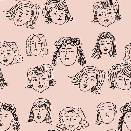 Hand drawn human faces doodle seamless pattern in cartoon style. Funny characters. Women, girl, mother, old lady. Funny ink pencil drawing sketches Illustration different age generation. Vector art illustration.