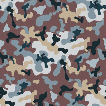 Beautiful camouflage seamless pattern. Military design. For printing on packaging, textiles, paper, manufacturing, wallpapers, soldier material, brutal fashion, backdrop or wrapping, paper. Vector illustration.