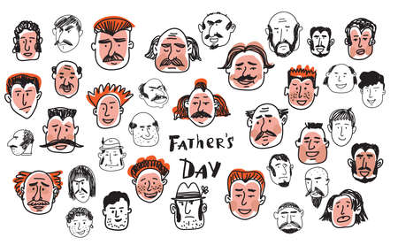 Hand drawn funny characters old people faces set, Cute avatars.Vector doodle illustration in cartoon sstyle.