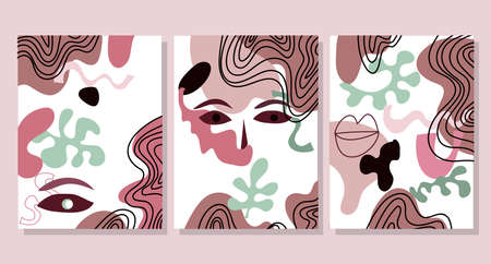 Creative hard paint cover design backgrounds. Abstract set with Woman face, silhouette, floral elements. Trendy graphic design for banner, social media, poster, cover, invitation, brochure, mobile apps. Vector art illustration. Stock Illustratie