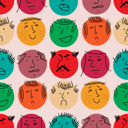 Cute colorful seamless pattern with smiling human icon. Avatars of people. Vector cute illustration in flat style. Stock Illustratie