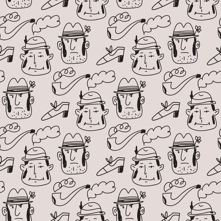 Cute colorful seamless pattern with funny hand drawn people. Avatars of characters people. Vector cute illustration in flat cartoon style.
