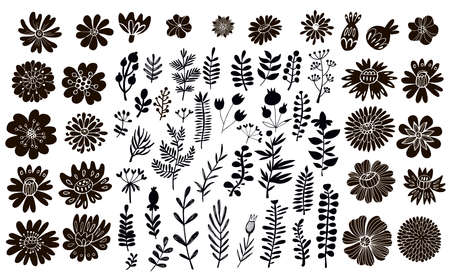 Big set of flowers and herbs. Vector collection leaf. Hand Drawn vintage floral elements.Perfect for wedding invitations and birthday cards.Universal templates collection for trendy design. Stock Illustratie