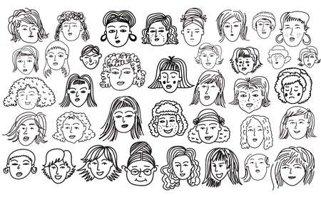 Big set of the womans and girls. Hand drawn funny characters old people faces set, Cute avatars.Vector doodle illustration in cartoon sstyle.