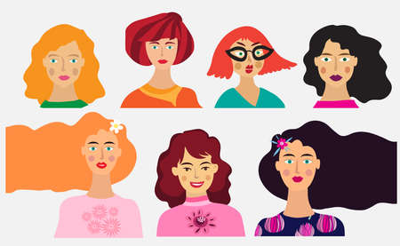 Large set of people avatars for social networks, website. Simple cute characters. Cute friendly people. Doodle hand drawn portraits of fashionable girls and guys. Vector illustration.