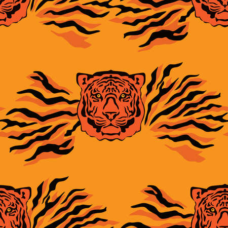 Tiger beautiful seamless pattern in different colors in cartoon flat style. Modern fashion print skin design for textile, fabric, wallpaper. Safari style. Vector illustration Vecteurs