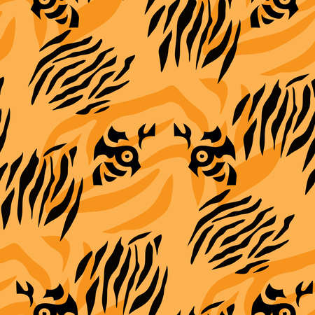 Tiger beautiful seamless pattern in different colors in cartoon flat style. Modern fashion print skin design for textile, fabric, wallpaper. Safari style. Vector illustration