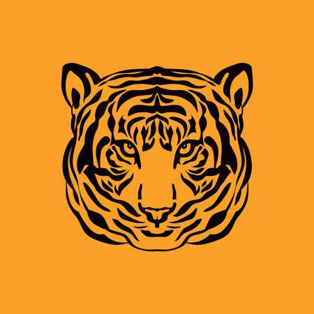 Tiger icon head silhouette, Tiger- simbol 2022 year. Vector flat illustration in cartoon style. Vektorové ilustrace