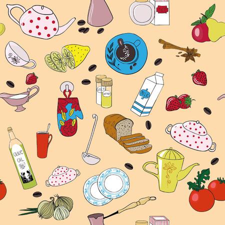 Seamless vector kitchen background