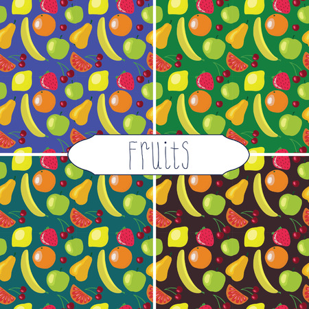 Funny fruits pattern set Vector