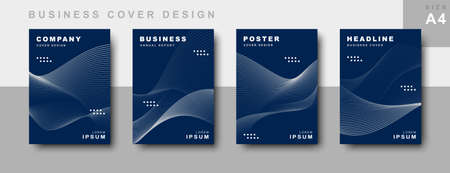 set of business cover design with wavy lines. Book cover, annual report, leaflet, business template design