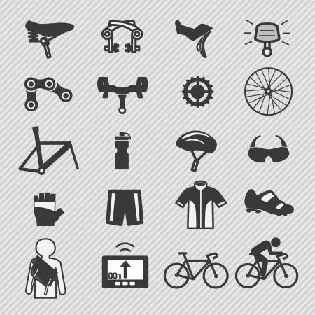 Fiets gereedschap en apparatuur deel en accessoires set vector icon