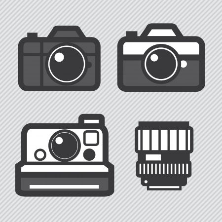 Photography camera lens set vector icons