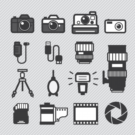 lomo: Photography camera lens and accessories set vector icons Illustration