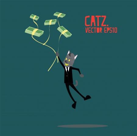 money cat: Gato del asunto de dinero flotando o levantar Vectores