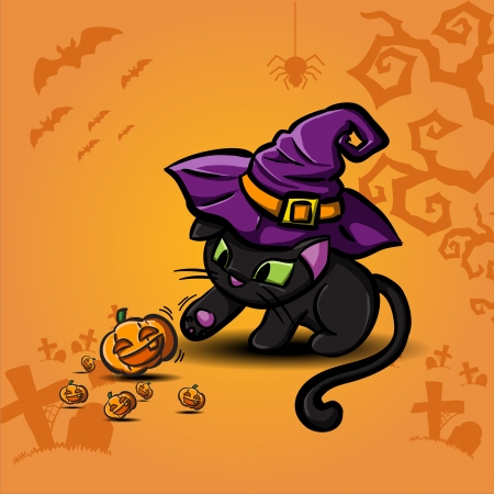 Halloween black cat wearing witches hat and pumpkin Stock Vector - 23116017