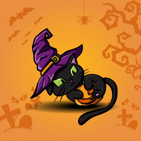 Halloween black cat wearing witches hat and pumpkin Stock Vector - 23116028