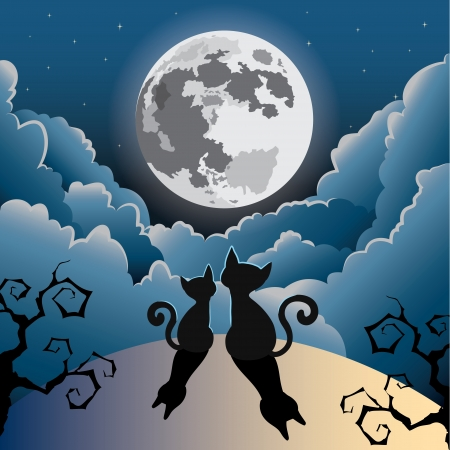 moonlit: silhouette of two cute kitty cat under the full moon ,halloween vector Illustration