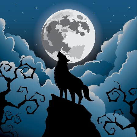 Silhouette Wolf howling at the moon ,Halloween Vector illustration  Vector
