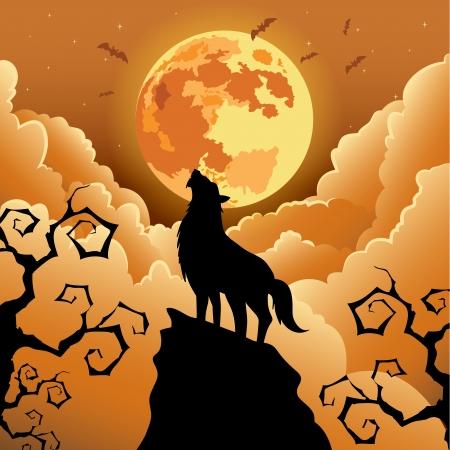 Silhouet Wolf die bij de maan, Halloween Vectorillustratie
