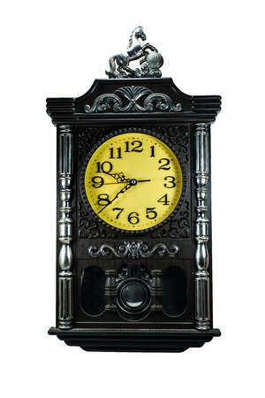 Black Vintage clock isolated on white  photo