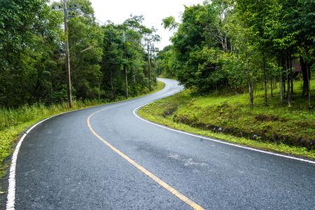 curve manier van asfaltweg door het groene veld Stockfoto