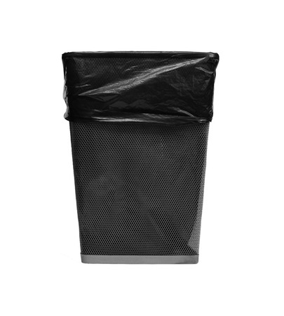 metal trash with bag photo