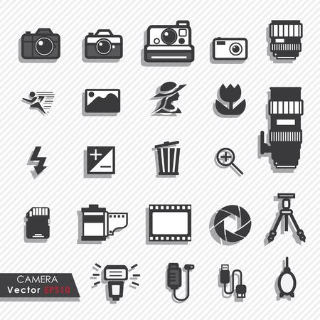 Fotografie camera lens en accessoires set vector iconen