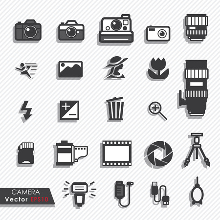 Photography camera lens and accessories set vector icons Illustration