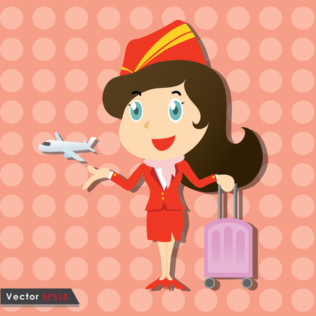Beautiful stewardess with red uniform and little airplane Vector