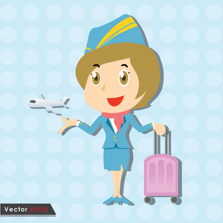 Beautiful stewardess with blue uniform and little airplane Vector