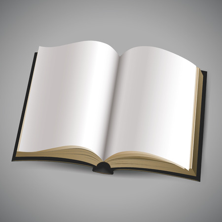 open book with blank white pages  Vector illustration on gray background Vector