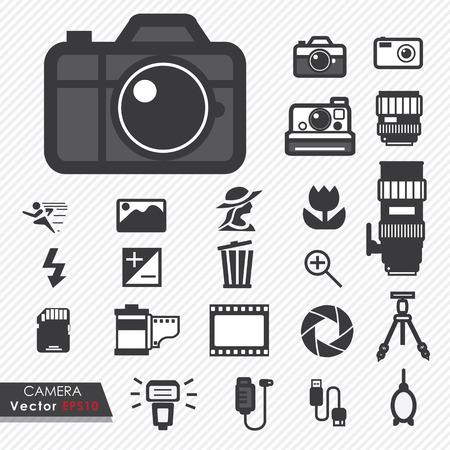cape mode: Foto-Kamera-Objektiv und Zubeh�r-Set Vektor-Icons