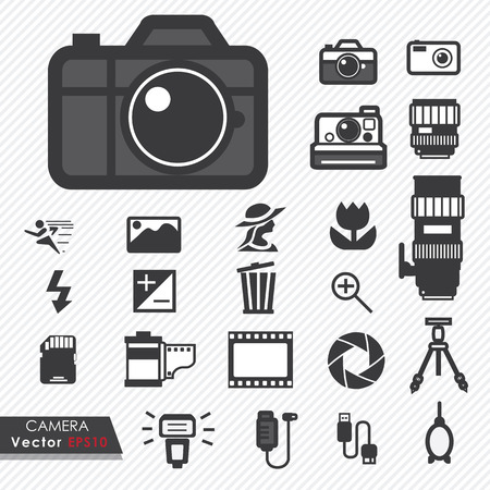 Photography camera lens and accessories set vector icons Vector