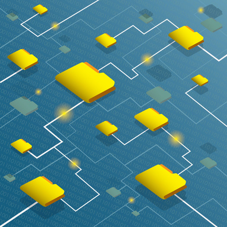 file transfer: Data flow system with binary code background Illustration