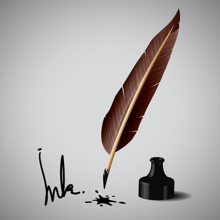 quill pen: Feather pen ink  Vector illustration