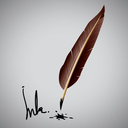 Feather pen ink  Vector illustration Vector
