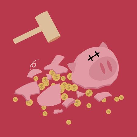 Gebroken Spaarvarken met hamer geld te besparen Vector