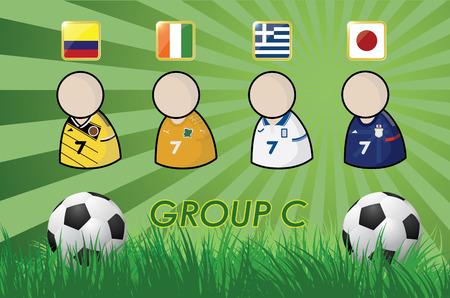 football-speler en vlaggen voor het kampioenschap van 2014 op gras achtergrond en voetbal vector illustratie